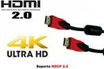Cable HDMI RED versión 2.0 de 2 metros hasta 4k x 2k